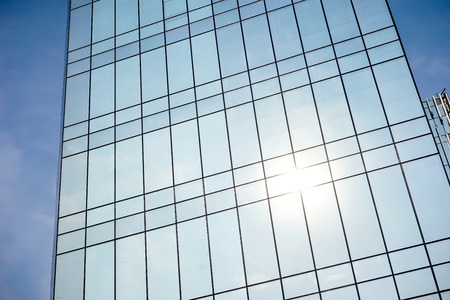 building wall: exterior glass wall of a modern building Stock Photo