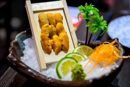 urchin: sea urchin sashimi Stock Photo