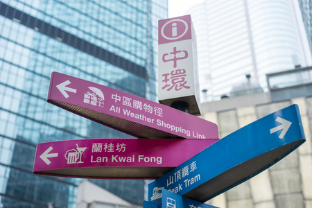 Central, Hong Kong-Jan.10,2016:Road sign. A guide post indicates the direction of famous sites in Central area.