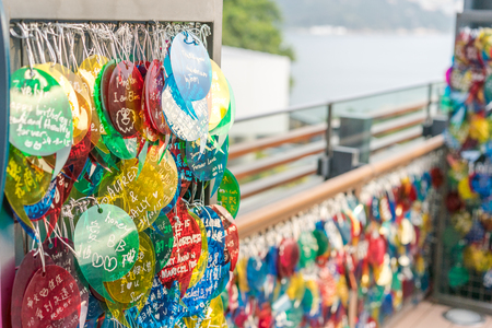 stanley: Stanley, Hong Kong-Jan.9,2016:The lovers Terrace. Lovers come here to leave message and their names on the colorful heart shape card in the Lovers Terrace.