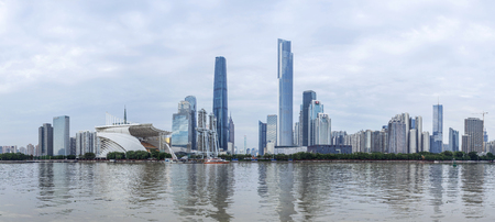 Guangzhou, China-January.30, 2016: Guangzhou skyline. Zhujiang New Town is the central business strict of Guangzhou which have most skyscrapers of the city.