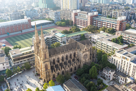 bird view: bird view of Sacred Heart Cathedral in Guangzhou