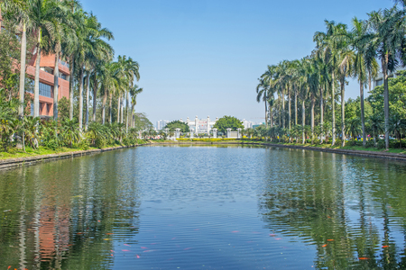 yat sen: Guangzhou, China-February.9, 2016: Lake in Sun Yat-Sen University. Sun Yat-Sen University is the top university in southern China which founded by Dr. Sun Yat-sen in 1924.