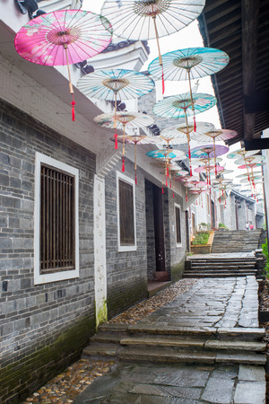 alley: alley with umbrella decorations