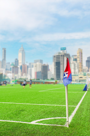 corner flag on the football pitch Stock Photo
