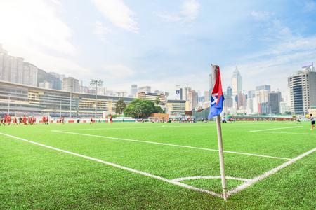 corner flag on the football pitch 免版税图像