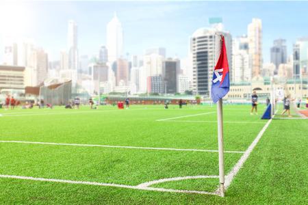 corner flag on the football pitch Archivio Fotografico