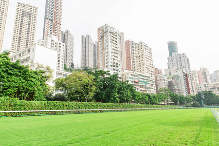 racecourse with city building view in Hong Kong