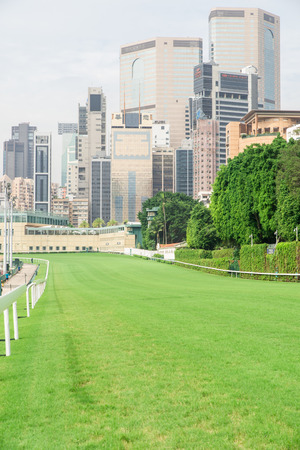racecourse and city building view in Hong Kong Editoriali