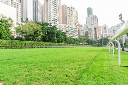 racecourse and city building view in Hong Kong Archivio Fotografico