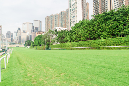 racecourse and city building view in Hong Kong Editorial