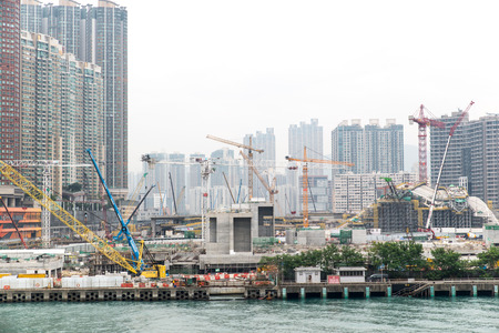 Dec. 3, 2016-Hong Kong: Construction site by the sea.