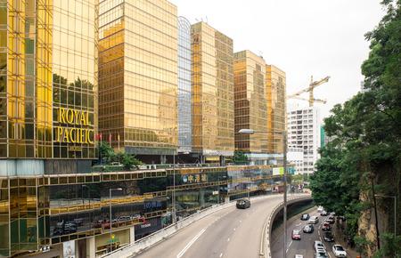 Dec. 3, 2016-Hong Kong: Hong Kong street view. Viaduct by the modern buildings. Editoriali