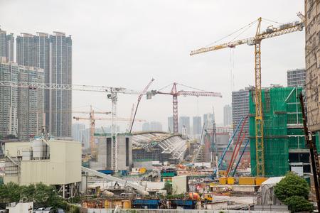 Dec. 3, 2016-Hong Kong: Construction site by the sea. 免版税图像 - 85378348