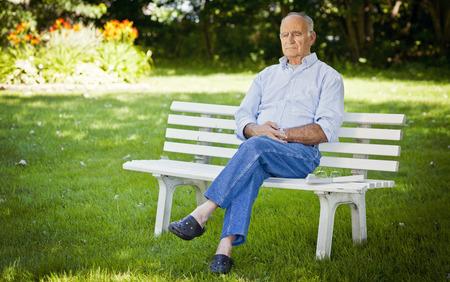 alzheimer's: Senior Man Alone At The Park