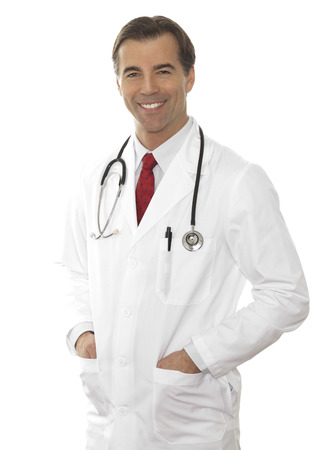 Mature Doctor Isolated On White photo