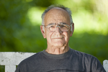 male senior adults: Portrait Of A Elderly Man Smiling At The Camera Stock Photo