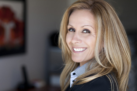 40 44 years: Mature Businesswoman Working At Home Stock Photo