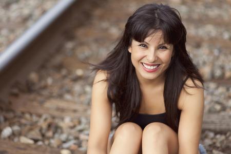 Spanish Woman Smiling Stock Photo