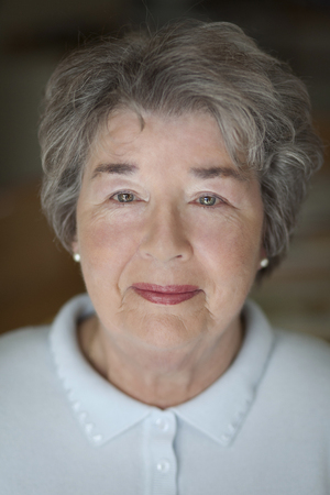 80 plus years: Close-up of a senior woman looking at the camera Stock Photo