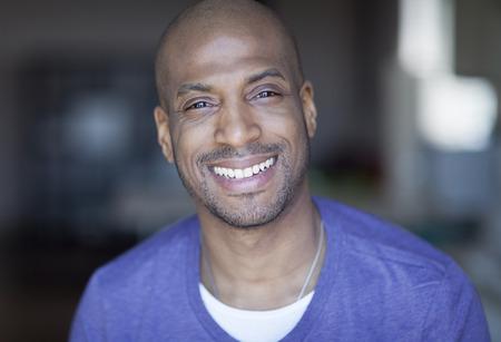 mature man: Portrait Of A Mature Black Man Smiling At Home