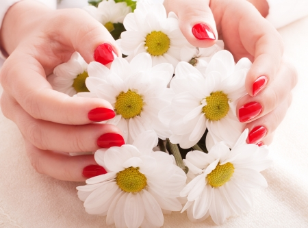 Closeup image of red manicure with flowers Stock Photo - 14600557