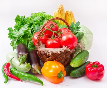vegetables isolated on white ( macro). Foto de archivo