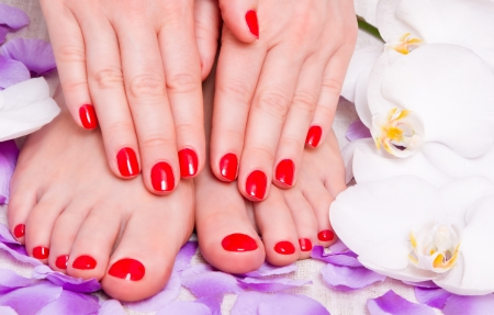 red manicure and pedicure red