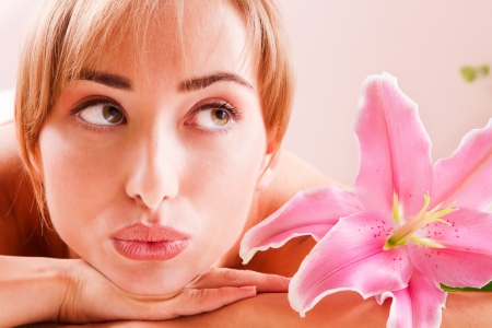 Beatiful women relax in spa with flower Stock Photo - 14994712