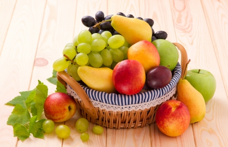 fresh fruits in wattled basket photo