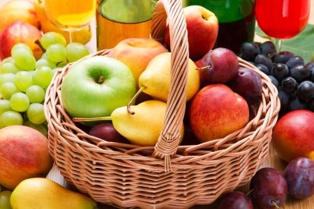 wattled: fresh fruits in wattled basket