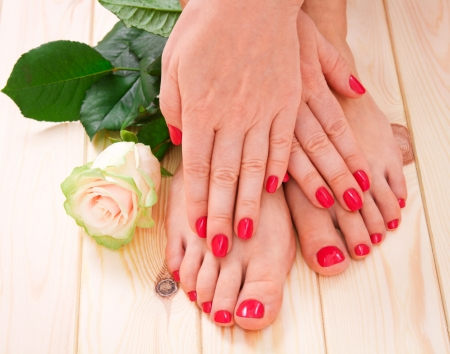 feet relaxing: manicure and pedicure Stock Photo