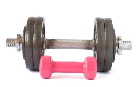 Two dumbbells close-up on a white background.