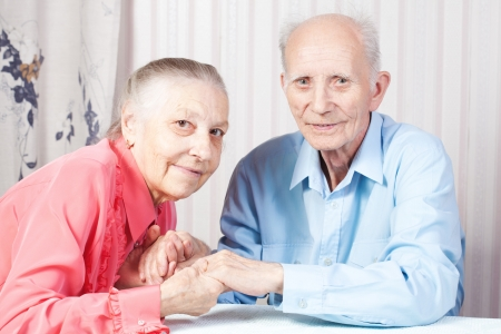 Positive elderly couple happy photo
