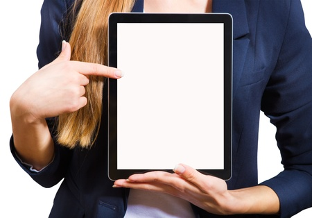 Young woman showing a tablet PC, a close-up on a white background. Stock Photo - 16500089