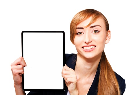 apple computer: Young woman showing a tablet PC, a close-up on a white background. Stock Photo