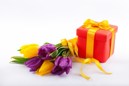 Flowers and red gift box   photo