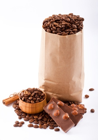 Paper bag with coffee beans and chocolate  Stock Photo - 17514772