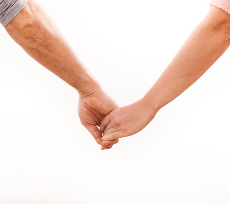 holding hands: Holding hands couple on white background