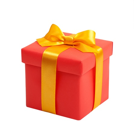 red box with yellow bow as a gift photo