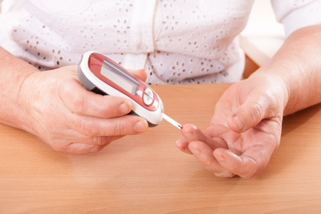 Testing for high blood sugar  Stock Photo