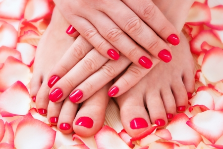 manicure: manicure and pedicure Stock Photo