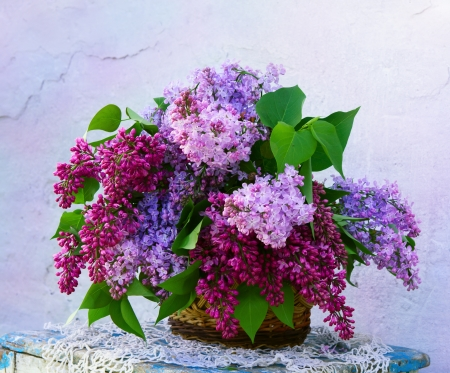 beautiful composition of flowers in  basket Stock Photo