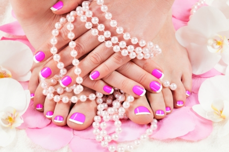 pedicure: beautiful manicure and pedicure