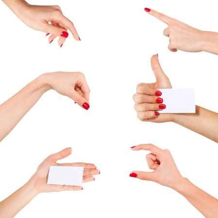 Women hand to hold business card ,credit card,blank paper or other isolated on white background. Photo set photo