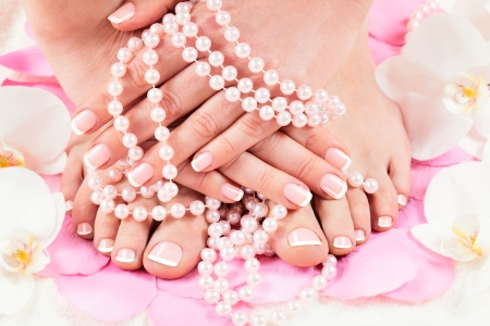 beautiful manicure and pedicure photo