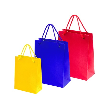 Empty Shopping Bags on white for advertising and branding photo