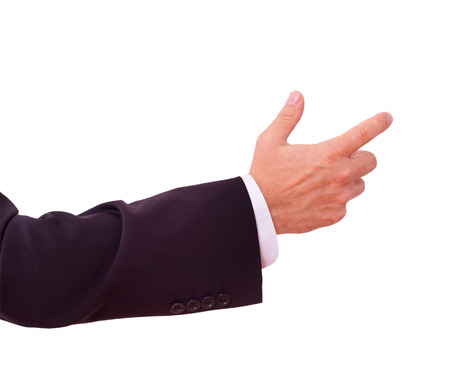 finger tip: businessman shows clicks on your advertisement Stock Photo