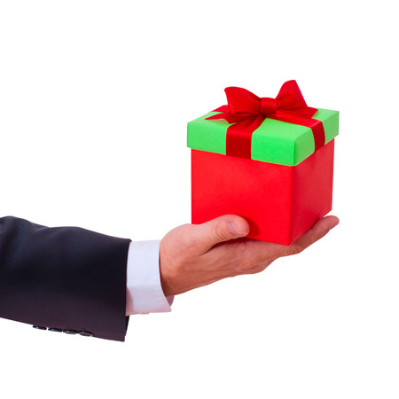 businessman holding  gift box with red bow Stock Photo - 23016027