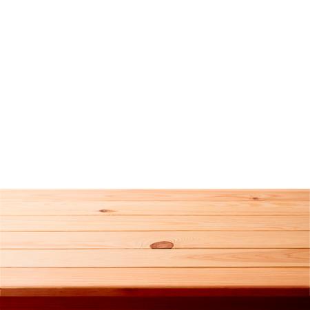 mesa de madera: Mesa de madera vacío en el fondo blanco para el producto montage Foto de archivo